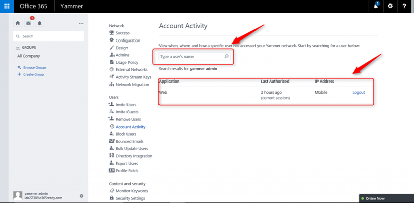 Yammer Account Activity ve Analytics Dashboard